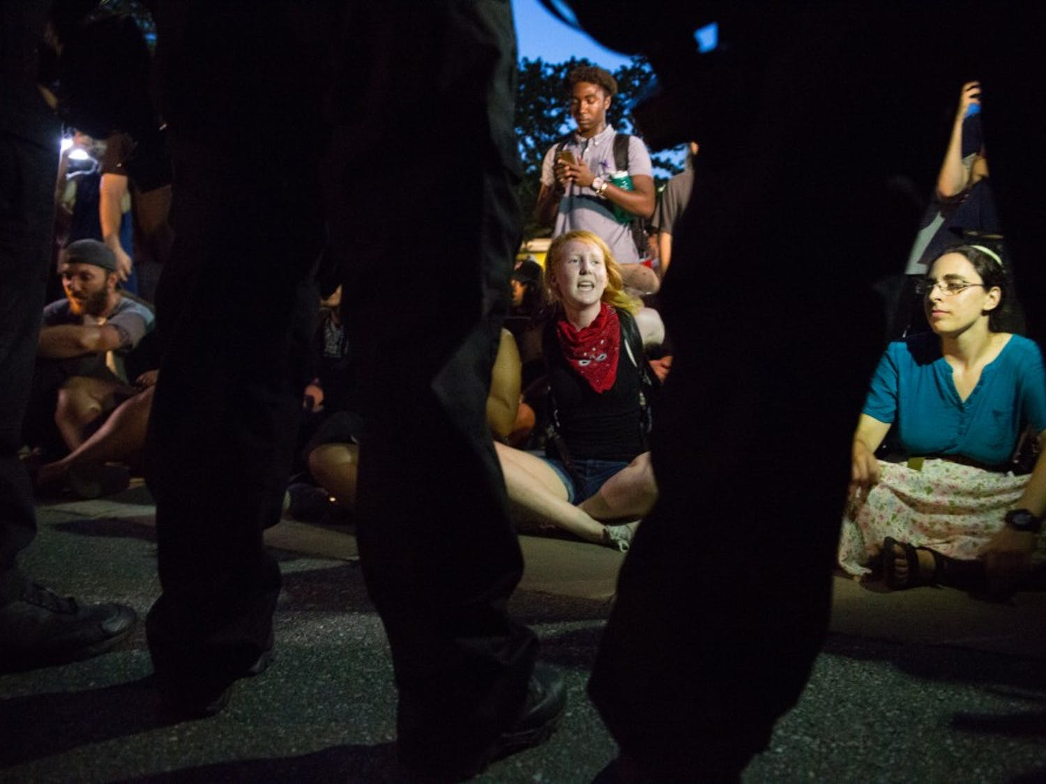 A protest occurred around Silent Sam on the night of the first day of classes.