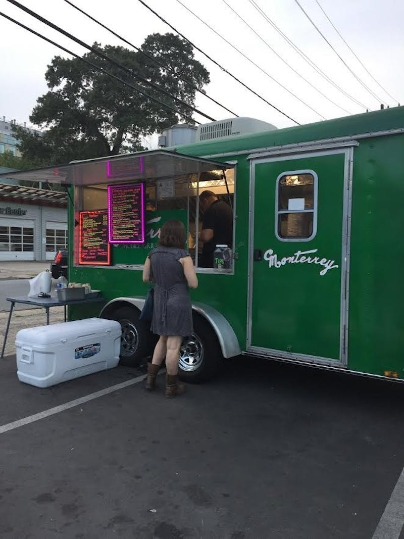 The Monterrey Mexican food truck parks around town.