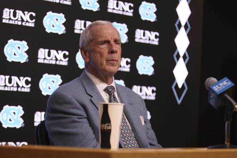 Head Coach Roy Williams speaks to the press after the game against N.C. State in the Smith Center on Tuesday, Feb. 25, 2020. UNC beat N.C. State 85-79.3