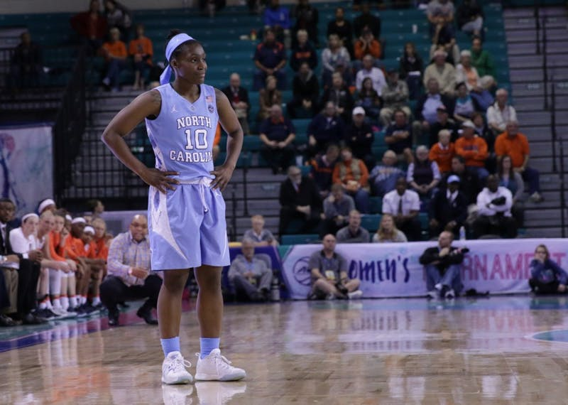 Guard Jamie Cherry (10) looks dejected during the Tar Heels' 83-64 loss against Syracuse on Thursday night.
