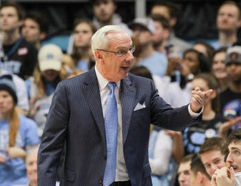 UNC head coach Roy Williams directs his team in North Carolina's win over Wake Forest on Saturday in the Smith Center.