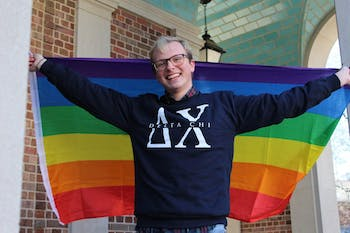 "Sophomore Ryker Smith, chemistry major, in front of the Morehead-Patterson Bell Tower on Thursday, Jan. 31, 2019. Smith is one of the founding fathers of the Delta Chi fraternity at UNC and a member of the LGBTQ community. Smith says that in his experiences with Greek life he has not experienced homophobia and that ""he loves all of his brothers and all of his brothers love him."""