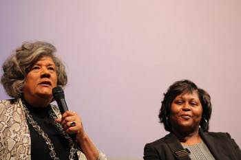Yvonne Holley (left) speaks on why she is running for Lieutenant Governor while Krystal Suggs (right) smiles during the Black Women Lead event held by the UNC Black Student Movement in the Stone Center on Monday, Feb. 10, 2020. The event focused on discussion with four black, female-identifying politicians and their platforms for the 2020 election.