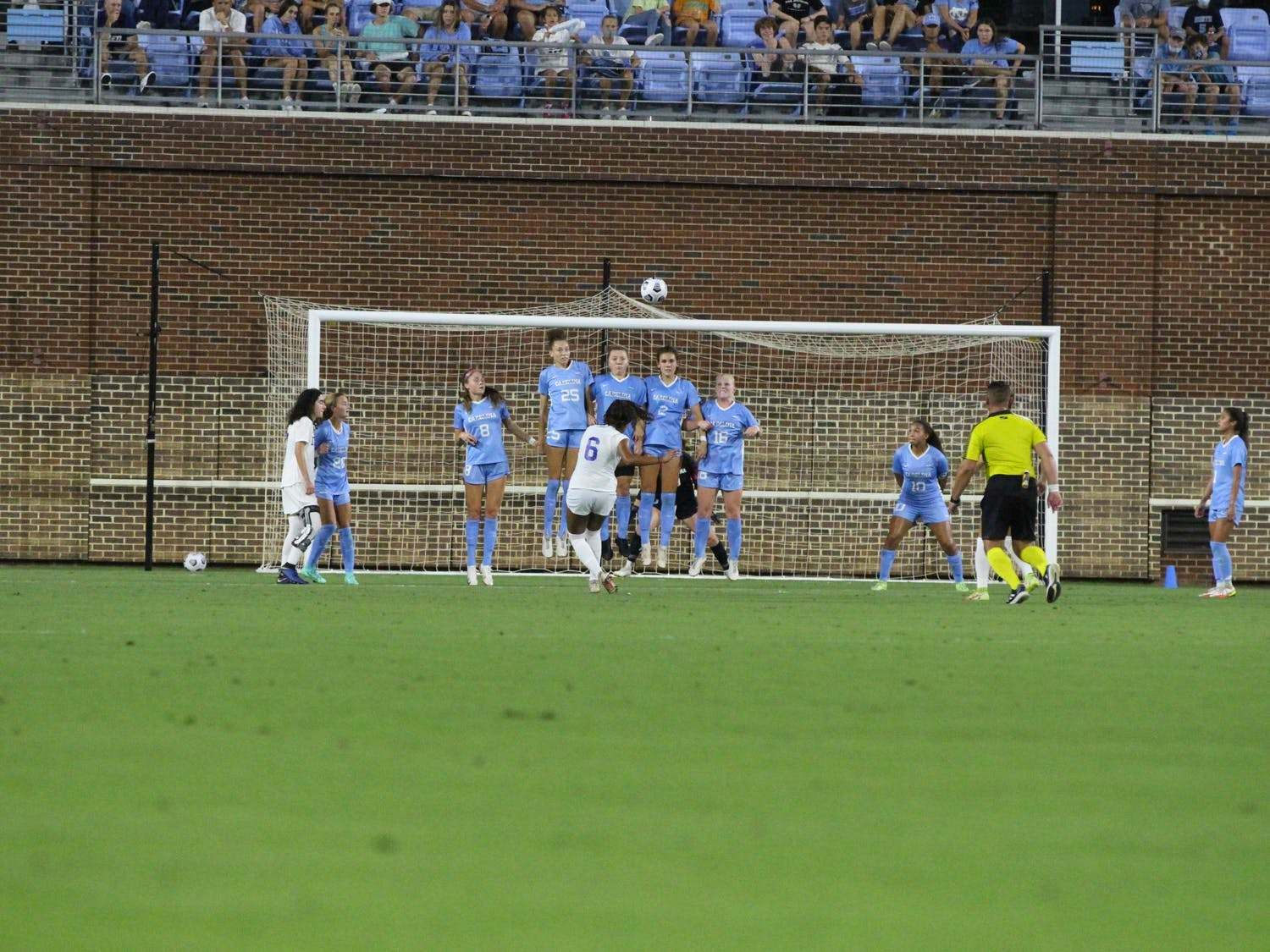 UNC women's soccer players block their goal during the Duke vs UNC soccer game on Sept. 17. The Tar Heels lost 1-0.