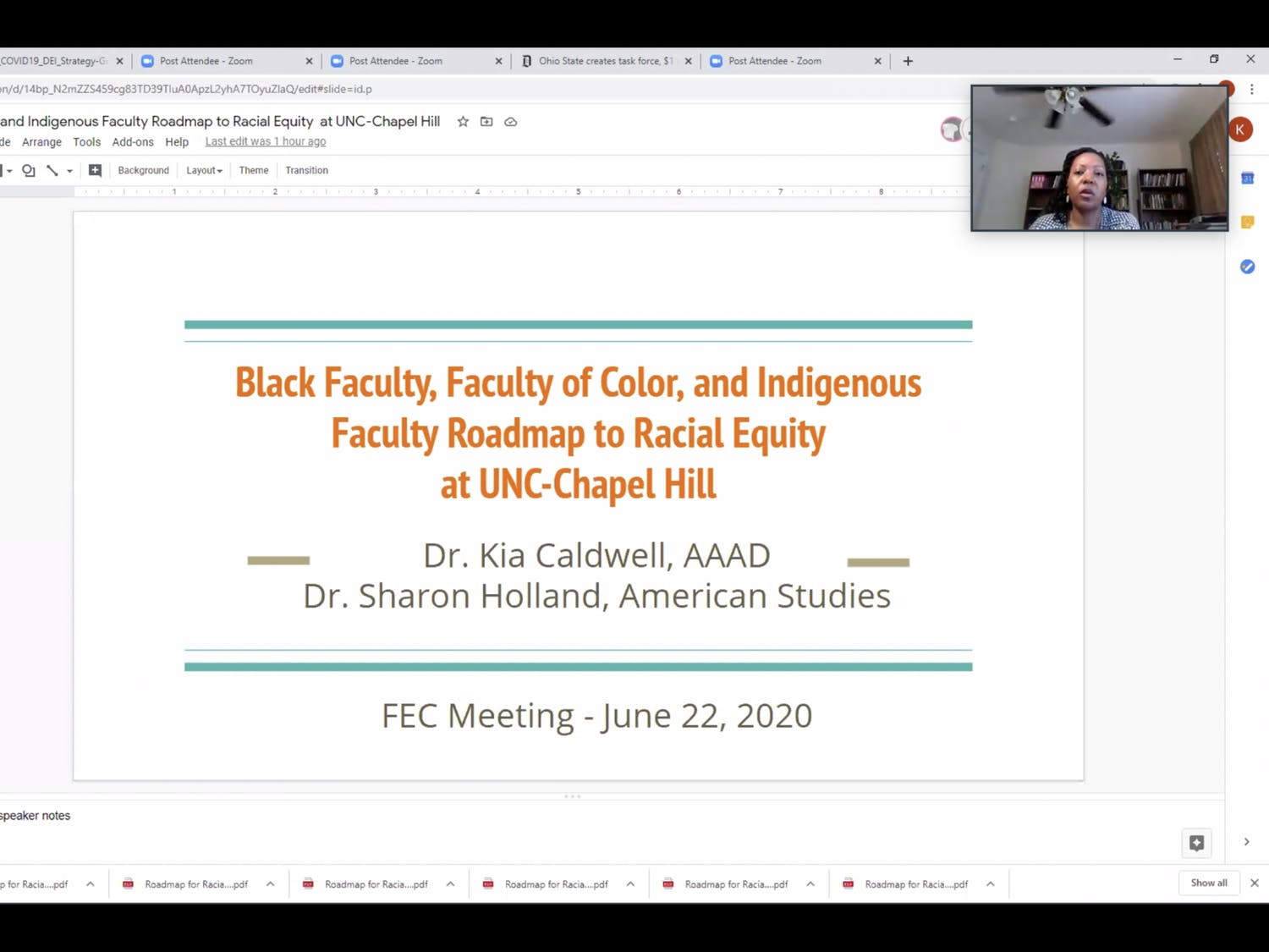 Screenshot of the Faculty Executive Meeting on Monday, June 22, 2020, where there was discussion on racial equity in the upcoming school year.