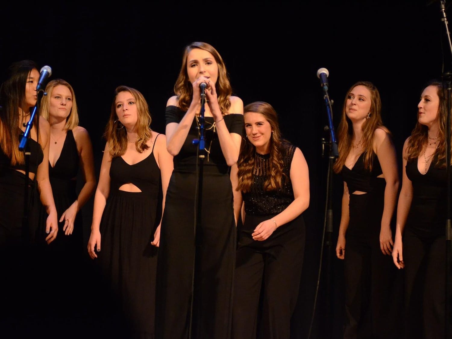 "UNC senior and Loreleis President Julia Kelly performs at a UNC Loreleis concert. UNC's premier all-female a capella group, the Loreleis, will release a new album titled ""Solstice"" on April 18. Photo courtesy of Amy Smith."