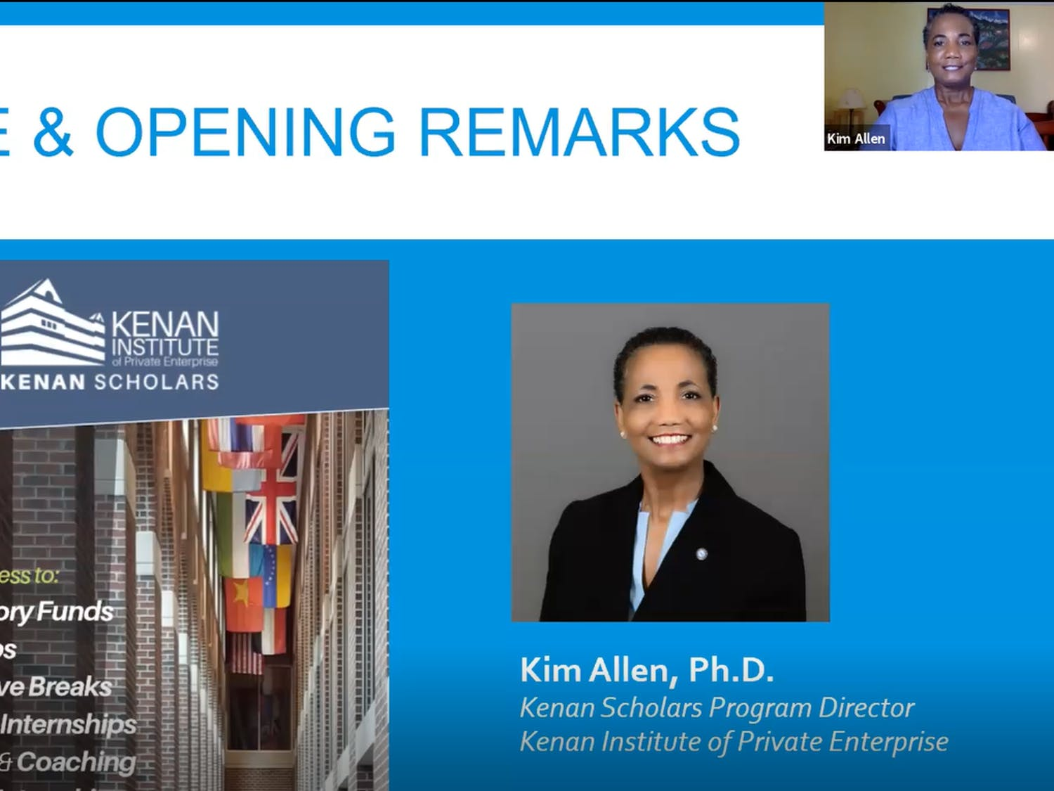 Dr. Kim Allen, Kenan Scholars Program Director, welcomes attendees to the inaugural Kenan Scholars Public Sector Showcase on Friday, Sept. 25, 2020.