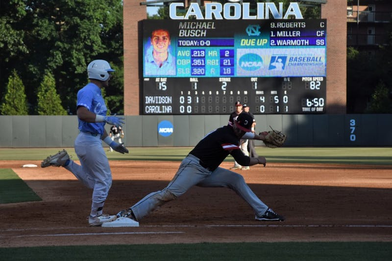 North Carolina's Michael Busch is grounded out in the third inning of UNC's regional game against Davidson. The Tar Heels lost, 8-4.