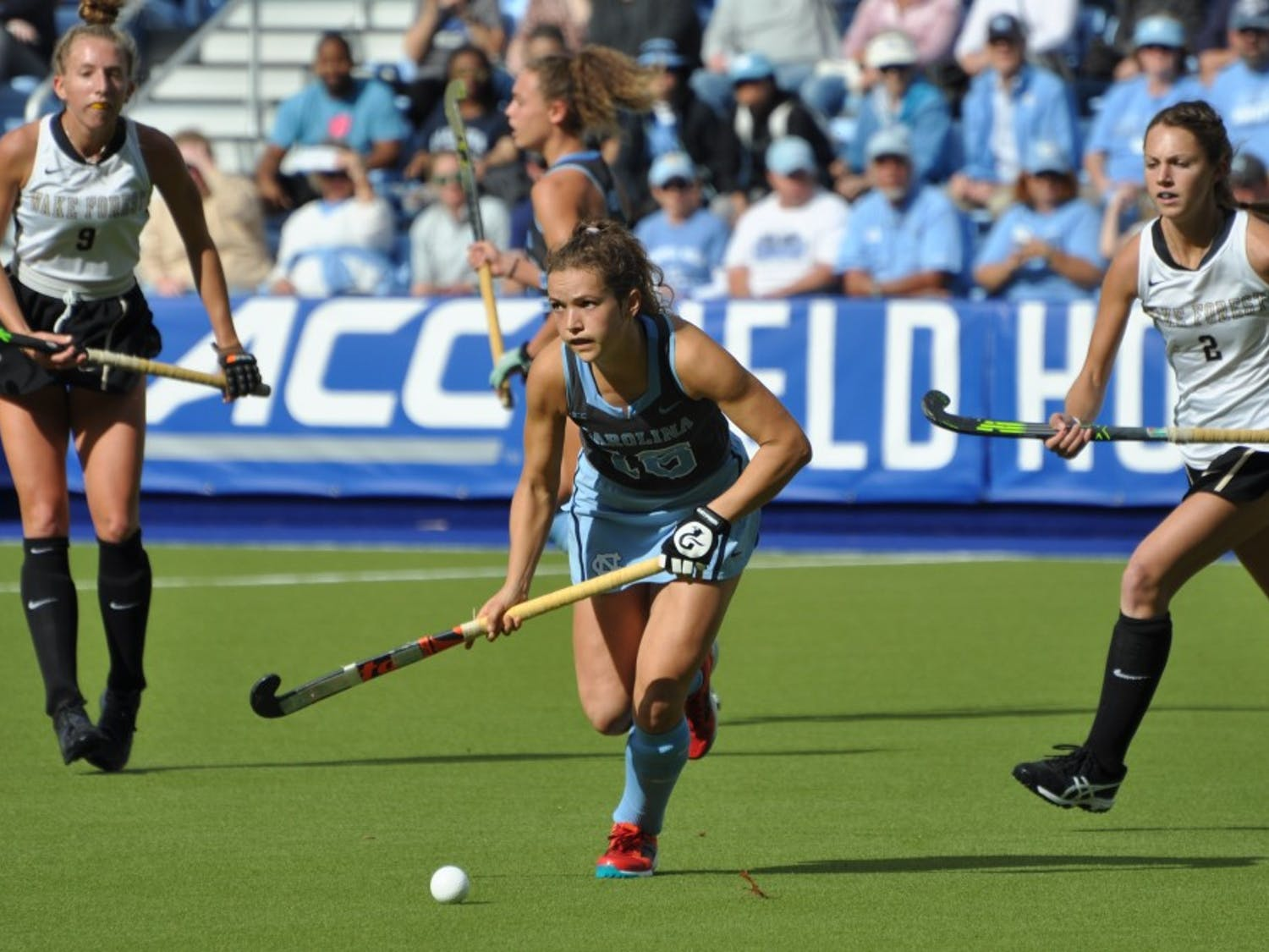 Midfielder Yentl Leemans (18) looks down the field during Sunday's ACC championship game against Wake Forest. UNC won 7-2.