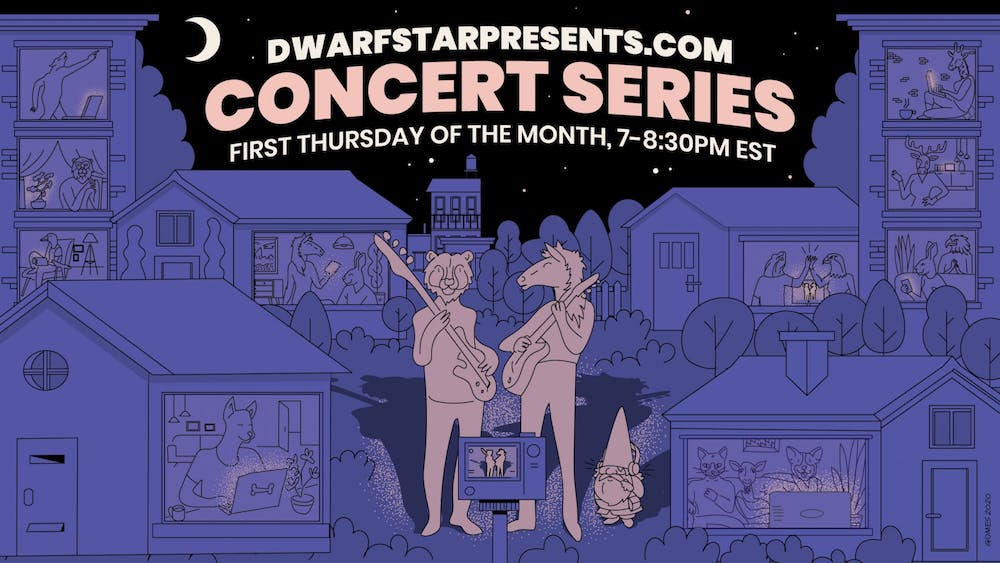 <p>Dwarf Star Studios of Carrboro will host three local bands in a monthly virtual concert series at 7 p.m. Thursday. Graphic courtesy of John May.</p>