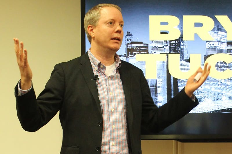 Comedian, actor and screenwriter Bryan Tucker speaks at a Q&A forum hosted by UNC Student Television Thursday evening.