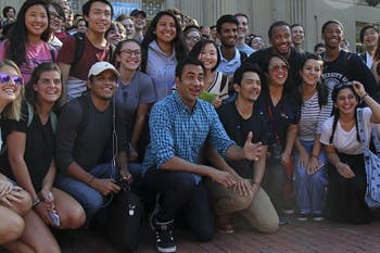 Kal Penn (left) and John Cho (right), the comedy duo from the Harold and Kumar movie series, visited UNC Tuesday to encourage early voting.