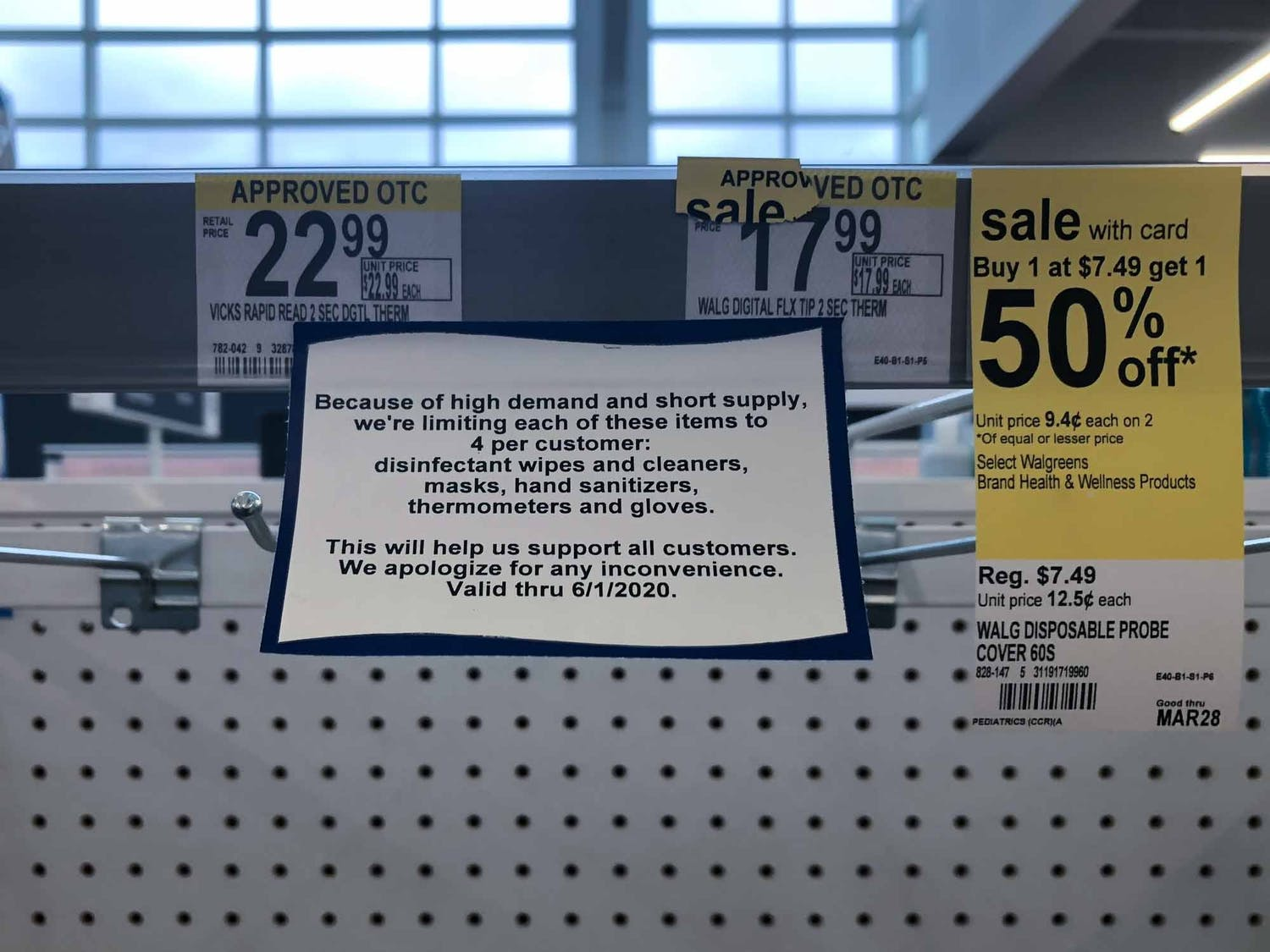 A sign hangs in the thermometer section at the Walgreens amid the coronavirus outbreak on 1670 Martin Luther King Jr Blvd., on Sunday, March 15, 2020.