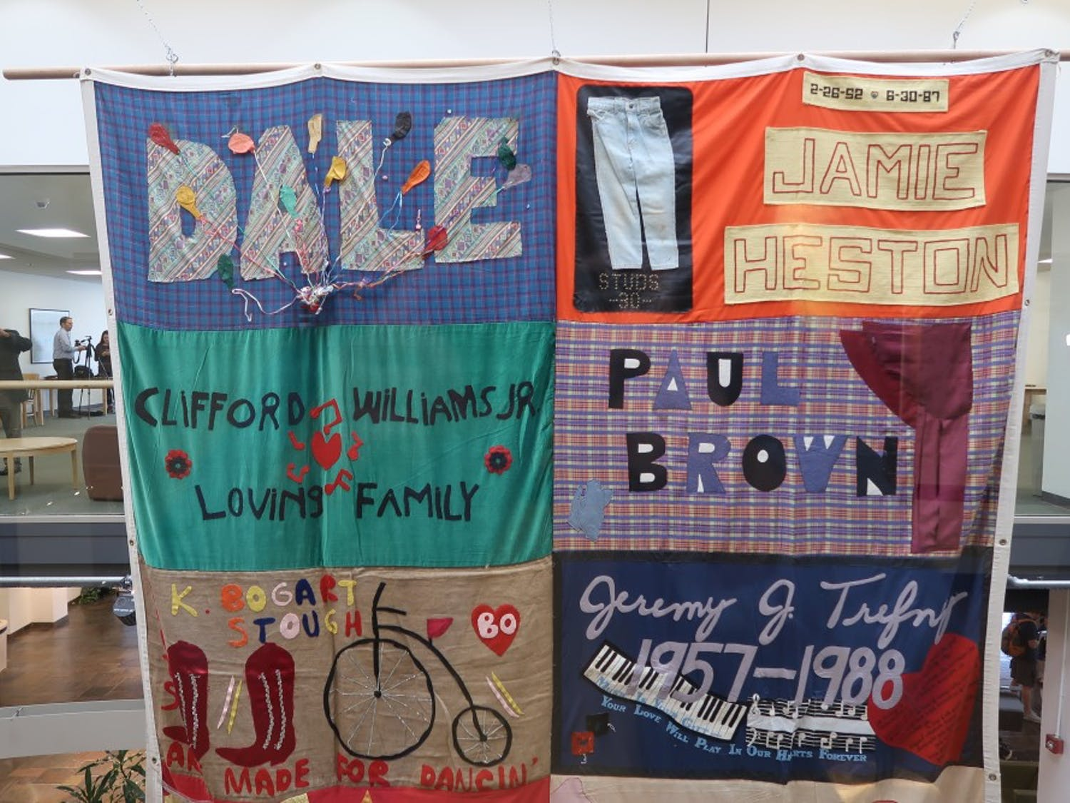Panel received from The AIDS Memorial Quilt hanging in the Student Union.