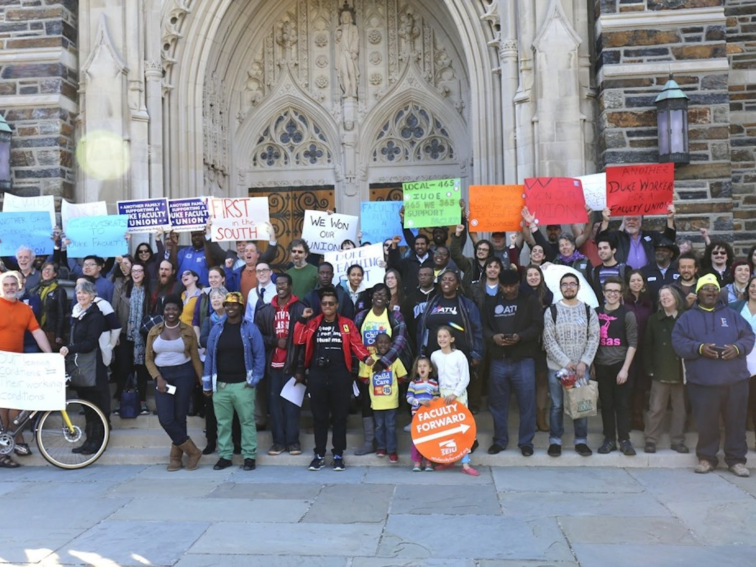 In 2016, People gathered at Duke Chapel to celebrate Duke Teaching First becoming eligible to unionize.