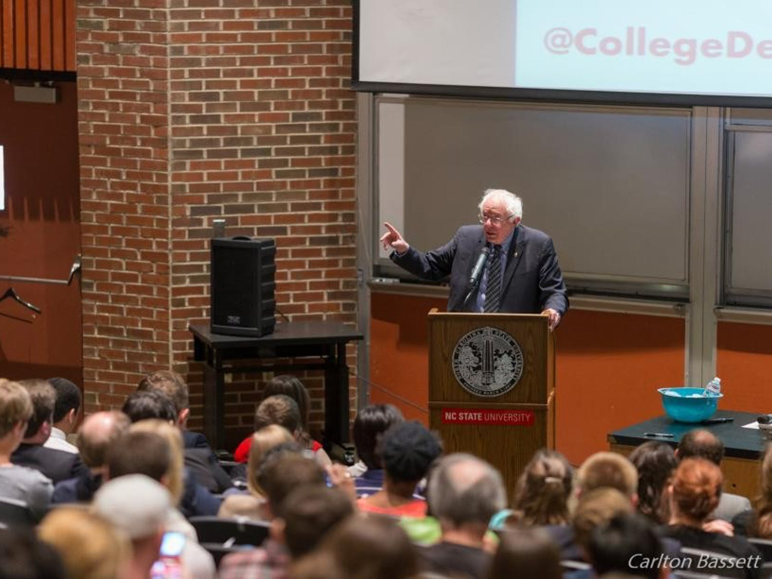 Sen. Bernie Sanders will visit Duke University Jan. 19 to discuss economic equality. Sanders visited N.C. State University April 26, 2017. Photo courtesy of sanders.senate.gov.