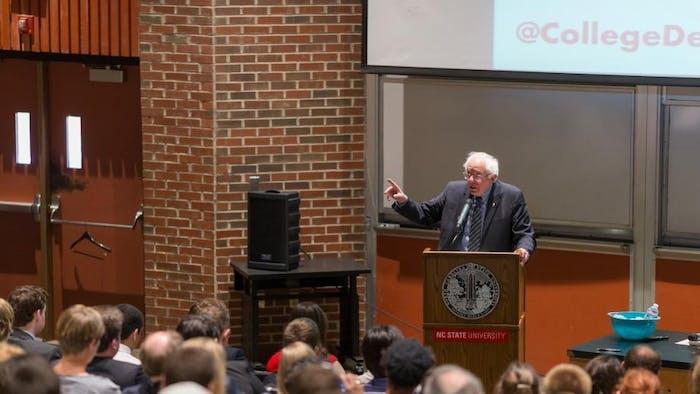 Sen. Bernie Sanders will visit Duke University Jan. 19 to discuss economic equality. Sanders visited N.C. State University April 26, 2017. Photo courtesy of sanders.senate.gov.