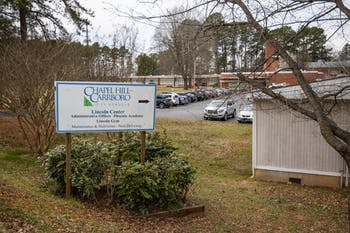 A sign points to the Chapel Hill-Carrboro City Schools administrative office on Wednesday, March 4, 2020.