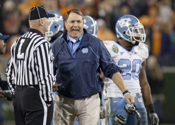 UNC Coach Butch Davis protests a call.