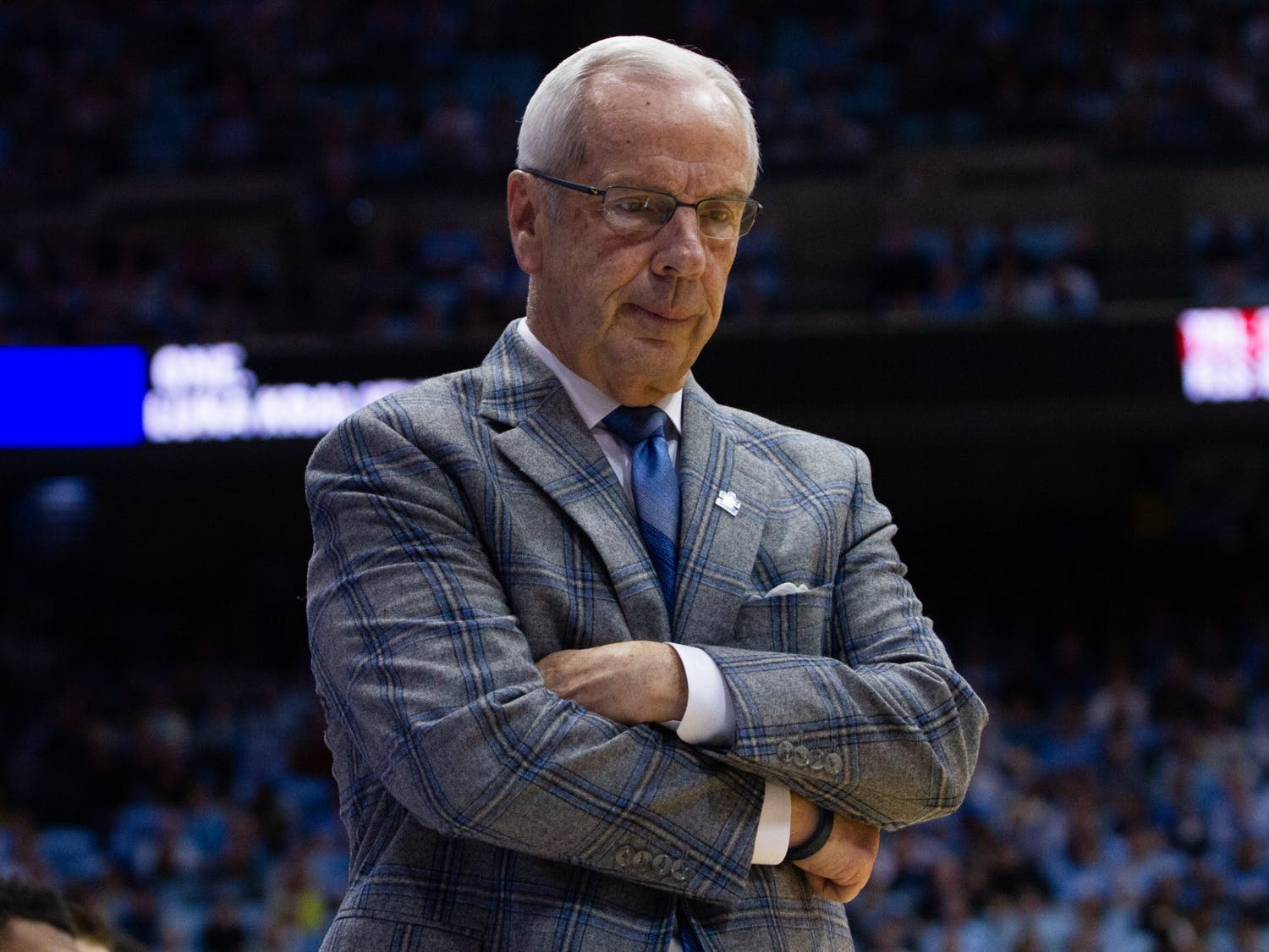 Head Coach Roy Williams pauses during the game against Boston College in the Smith Center on Saturday, Feb. 1, 2020. UNC lost to Boston College 71-70.
