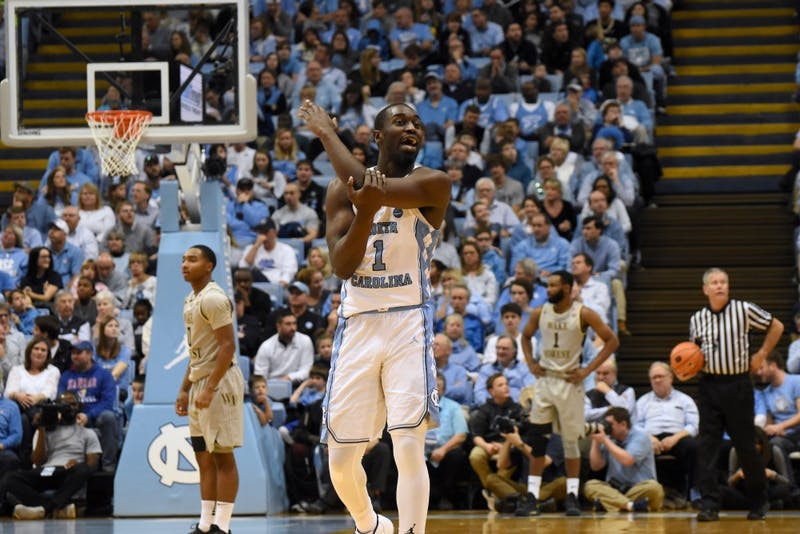 Forward Theo Pinson (1) demonstrates what he thought was a missed call to the sideline during a Dec. 30 game against Wake Forest.
