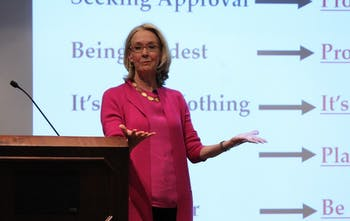 Kathryn Heath, a women's leadership and career coach, spoke at the Bobby Boyd Leadership Lecture on Tuesday evening.