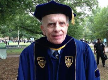 Paul Kropp representing his Alma Mater, Notre Dame, at the Swearing-In Ceremony of former chancellor Carol Folt in 2013. Photo courtesy of Sonia Thomas.
