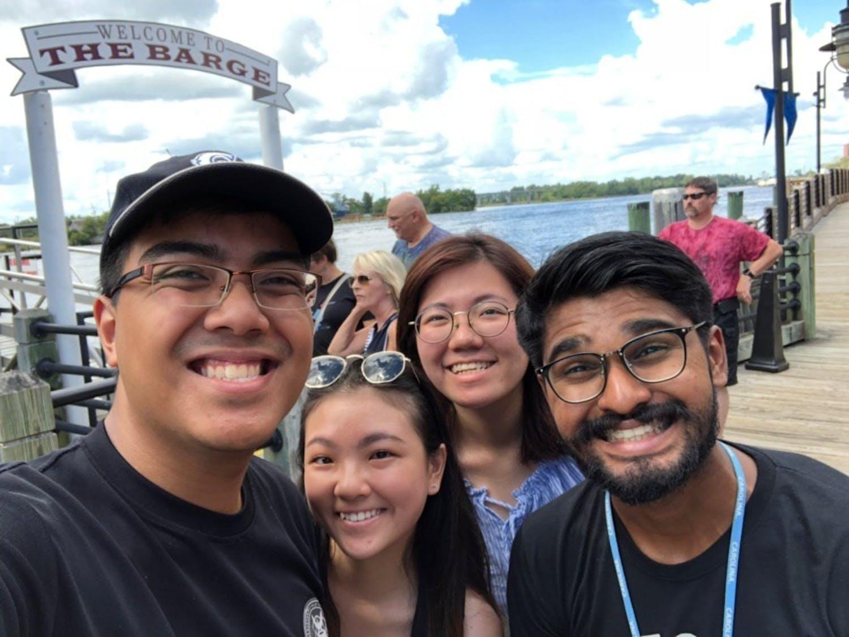 (From left to write) Danial Zaini, Ebell Chua, Evelyn Lim Yee Huib and Vikram Jayakumar pose for a selfie in Wilmington. Photo courtesy of Danial Zaini.