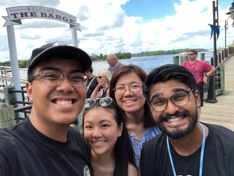 (From left to write) Danial Zaini, Ebell Chua, Evelyn Lim Yee Huib and Vikram Jayakumar pose for a selfie in Wilmington. Photo courtesy of Danial Zaini.