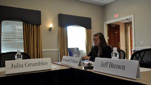 Student Body President Savannah Putnam attends a special meeting of the Board of Trustees the morning of Aug. 28 at Paul J. Rizzo Conference Center.