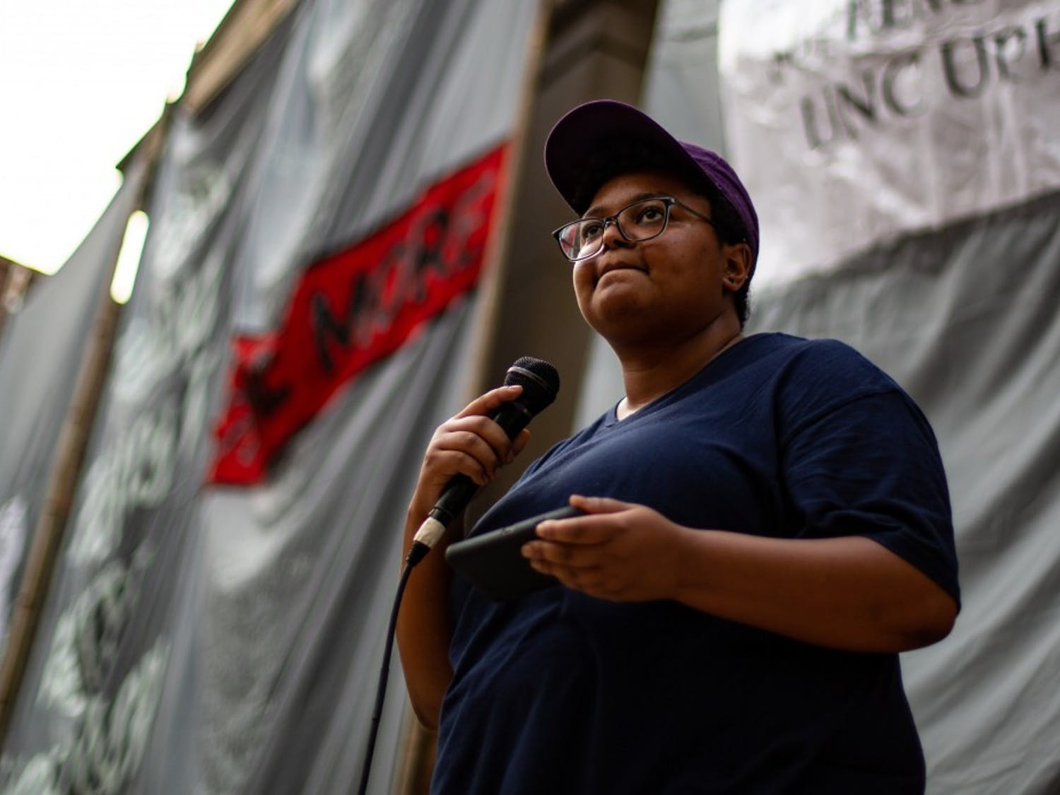 Maya Little speaks at the Peace and Justice Plaza on Monday, Aug. 21, 2018 against confederate monument Silent Sam. Maya had been previously arrested for her demonstrations against Silent Sam.