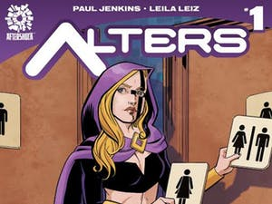 """A book store in Winston Salem commissioned a cover of """"Alters,"""" which features a transgender superhero as the protagonist, mocking House Bill 2.Photo courtesy of Bret Parks."""