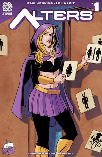 "A book store in Winston Salem commissioned a cover of ""Alters,"" which features a transgender superhero as the protagonist, mocking House Bill 2. Photo courtesy of Bret Parks."