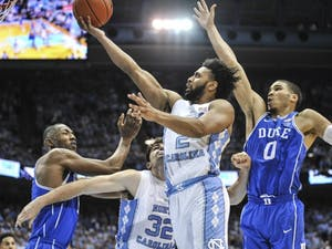 Guard Joel Berry II (2) goes up for a shot in No. 5 UNC's 90-83 win over No. 17 Duke on March 4 in the Smith Center. Berry finished with a team-high 28 points and five made 3-pointers.