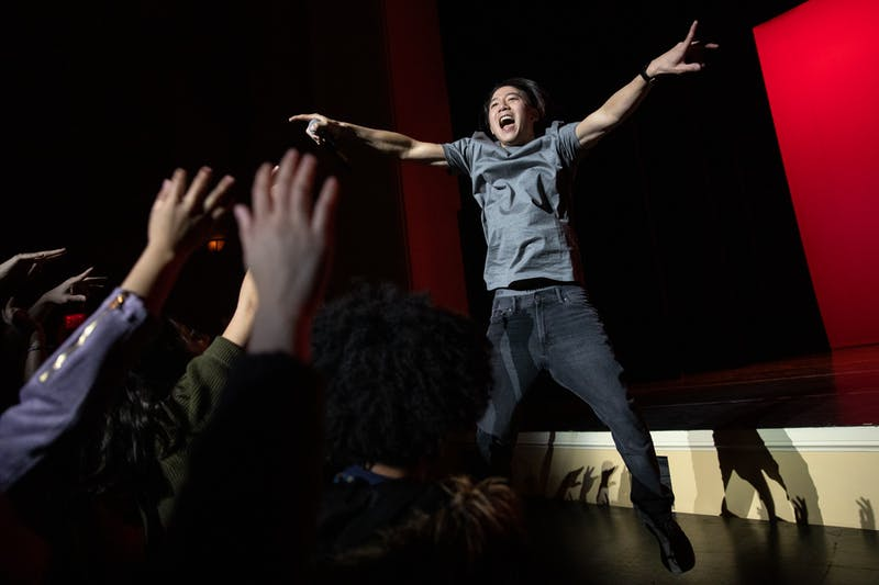 Dan Matthews, a Los Angeles-based rapper who goes by the moniker Danakadan, hypes up a crowd at Journey Into Asia at Memorial Hall on Feb. 29, 2020. Matthews performed songs that spoke to his Asian American identity as a Korean adoptee.