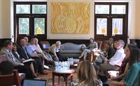 The faculty executive committee met to discuss university affairs at the Campus Y in the Queen Anne's Lounge on Sept.14, 2015.