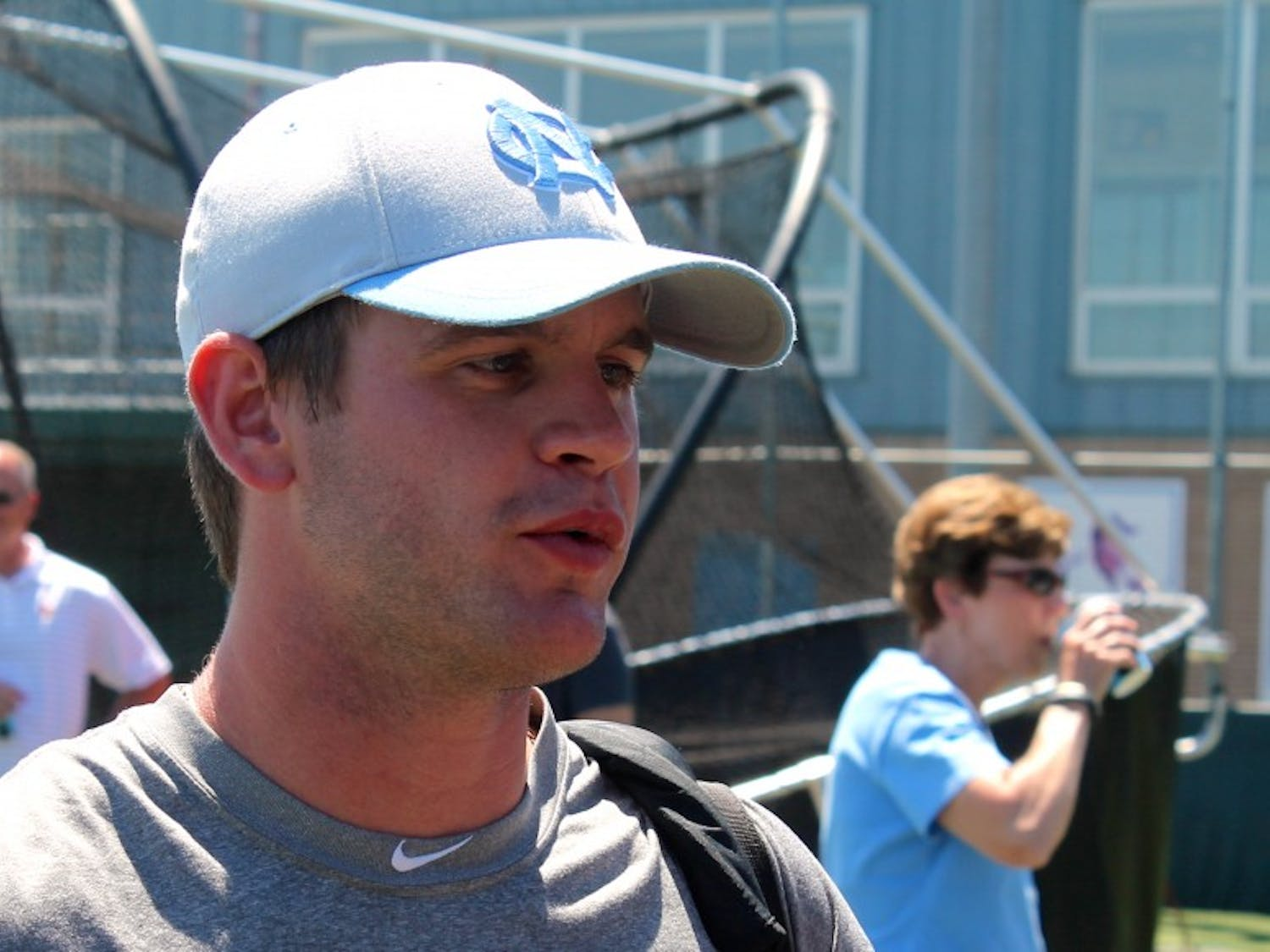 Center fielder Chaz Frank answers questions after Monday afternoon's practice at Creighton.
