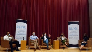 Marc Hetherington, Raymond H. Dawson Distinguished Bicentennial Professor of Political Science, discusses conflicts in public discourse between political parties at the Public Discourse event on September 14.
