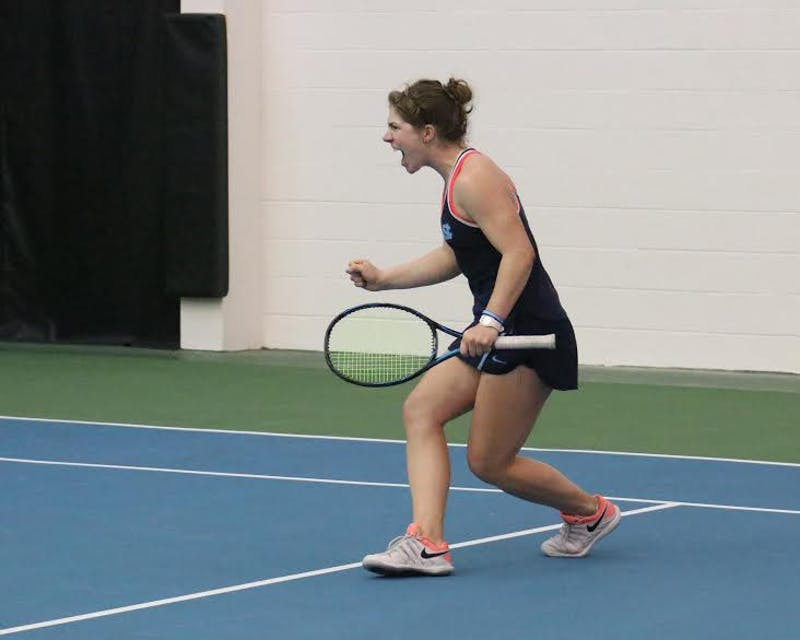 UNC junior Jessie Aney yells with excitement during a Feb. 25 match against Vanderbilt at the Cone-Kenfield Tennis Center.