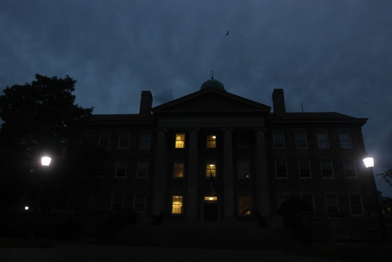 Few windows are lit in South Building in the evenings.