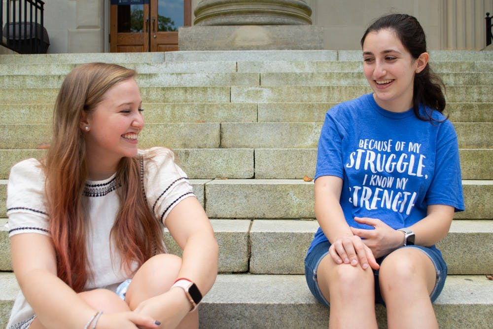 <p>Sophomores Abigail Earley, left, and Maya Tadross, right, founded the UNC OCD support group after realizing that there wasn't a specific resource for OCD on campus. Their group meets each week, alternating between social meetings and info meetings, where they highlight different OCD treatment techniques and medicines. The key thing, Earley says, is that people know OCD is more than just being neat.&nbsp;</p>
