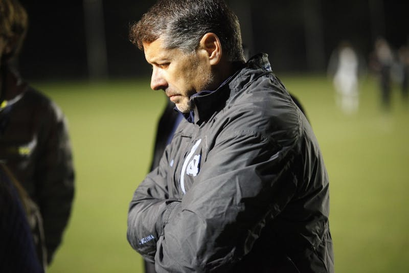 UNC Head Coach Carlos Somoano talks to reporters following UNC's loss to JMU in the second round of the NCAA Tournament Sunday, Nov. 18, 2018 at WakeMed Soccer Park. JMU defeated UNC 2-1 to continue to the third round of the NCAA Tournament.
