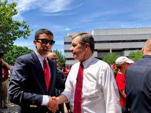 Greear Webb meets with Gov. Roy Cooper on May 1, 2019 at the Red 4 Ed NC Education Rally in Raleigh. Photo courtesy of Greear Webb.