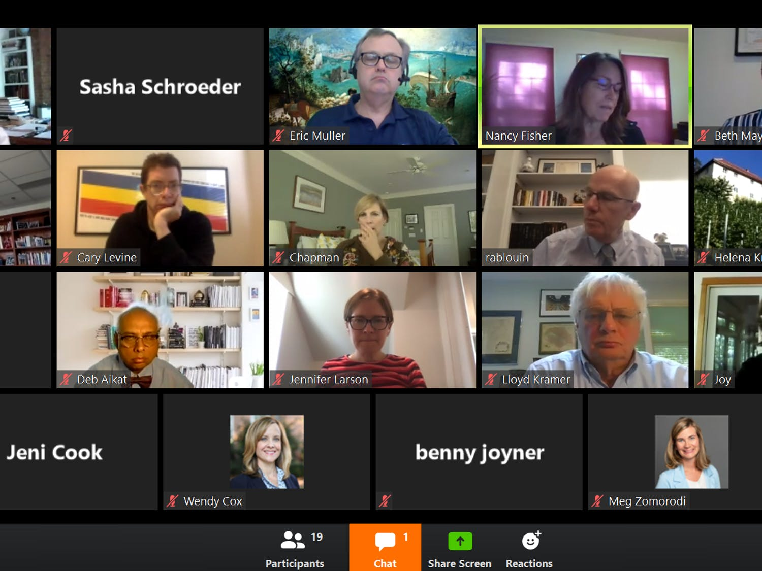 The Faculty Executive Committee met virtually Monday, April 27, 2020 to discuss concerns over the COVID-19 pandemic and its effects on the University's budget, as well as the possibility of furloughs.
