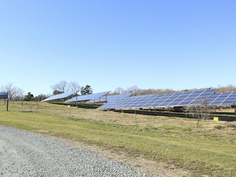 The solar panels near Maple View Farm are an example of the solar energy powered by Duke Energy.