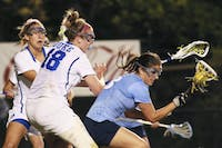 UNC attacker and midfielder Sammy Jo Tracy (13), a junior communications major from Bedford, N.Y., scored three goals against Duke on Friday night.
