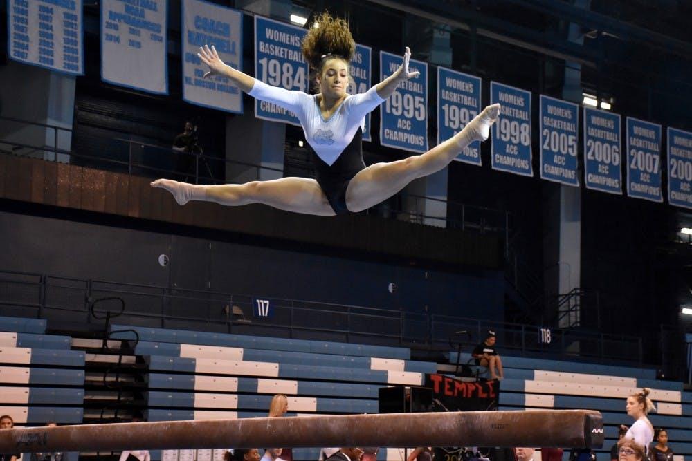 UNC gymnastics falls to reigning national champion Oklahoma, 198.150 to 195.750