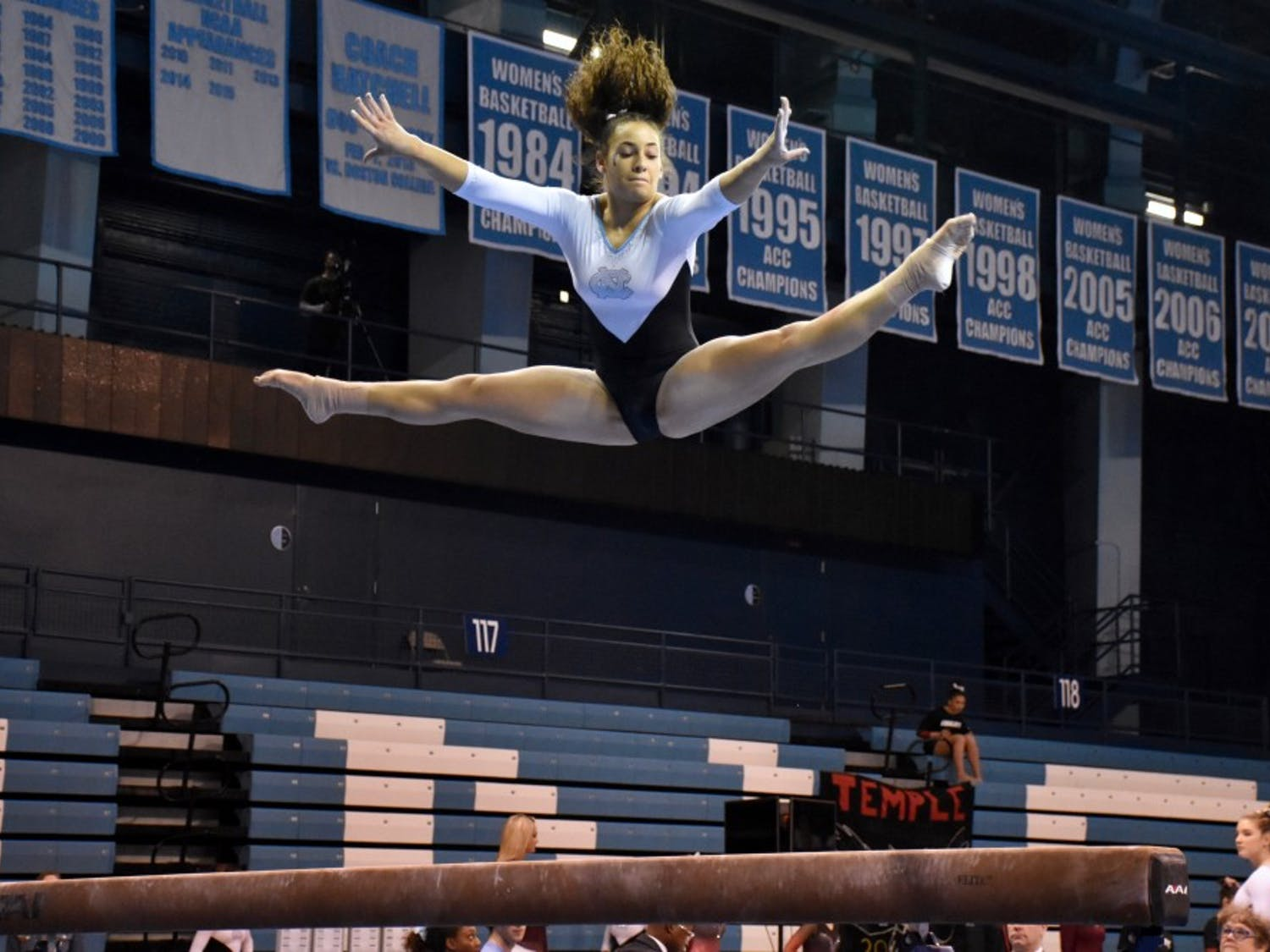 Alexis Allen competes in the beam routine a Jan. 19 meet against Temple in Carmichael Arena.
