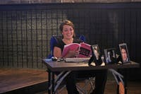 """Sydney Roberts rehearses as Ben for LAB! Theatre's upcoming show, """"Matt and Ben"""", at Might As Well on Franklin St."""