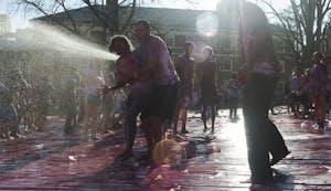 Students gathered in the quad Friday to celebrate Holi, the Hindu celebration of spring.Students gathered in the quad Friday to celebrate Holi Moli, the Hindu celebration of spring.